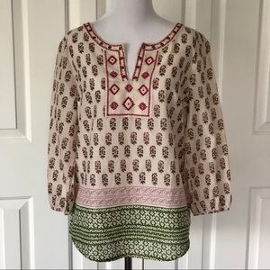 NEW Lucky Brand Embroidered Boho Peasant Top S
